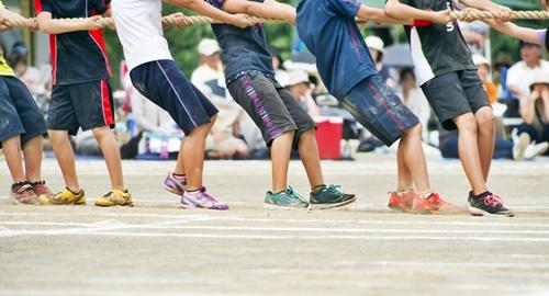 小学校の運動会の綱引き