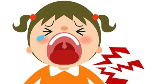 叩かれて大泣きする女の子