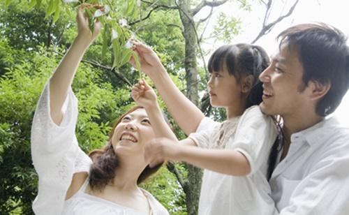 パパとママと遊びに来て木の葉をみる女の子