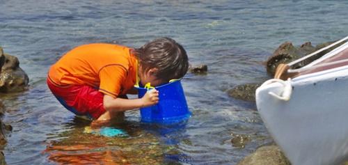海の底をのぞく男の子
